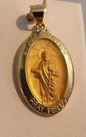 NEW 14K Gold Saint St. Jude Thaddeus Medal Charm Pendant 1.7gr