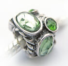 Antique Silver Plated Green Crystals Charm Bead Fits European Bracelet