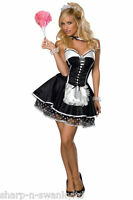 NEW Ladies Sexy Rocky Horror French Maid Housekeeper Fancy Dress Costume Outfit