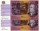 Australia 1985 $5 Johnston Fraser Note X 2 CONSECUTIVE GOTHIC aUNC