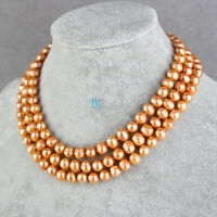 "47"" 7-9mm Orange Freshwater Pearl Necklace Strand Jewelry"