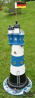 LEUCHTTURM BLAUER SAND blau/weiß 75 cm DOPPELLICHT Garten Deko maritim ROTER