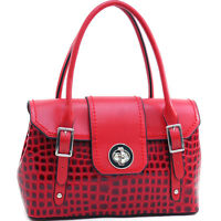New Dasein Women's Patent Croco Leather Satchels Tote Bag Twist Lock Purse Red