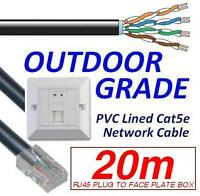 20m OUTDOOR EXTERNAL cat5e Network Ethernet Cable EXTENSION KIT Face Plate Box