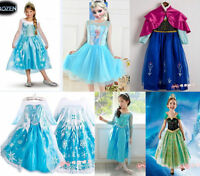 Girls Kid Costume Princess For Anna Elsa Queen Cosplay Party Formal Dress 2-8 Y