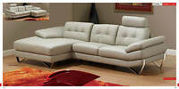 Chic Modern Dallas Full Grey Leather Living Room Sectional Sofa Contemporary