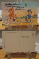 1940'S Linen Comic Color PC-Go Ahead!-and Come Down Here-We'll have Fun #574
