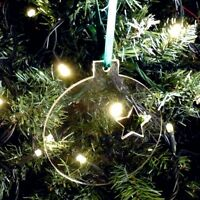 Star Bauble Christmas Tree Decorations - Pack of 10 - 8cm + ribbon