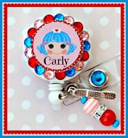 NURSE RN NAME RETRACTABLE ID REEL BLING BADGE HOLDER with Charm