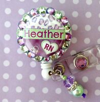 RN NURSE CUSTOM NAME RETRACTABLE ID REEL BLING BADGE HOLDER with charm