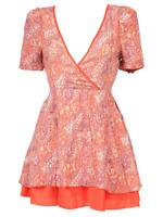 Womens Ladies Kelly Paisley Print Short Sleeve Shift Red In orange MINI DRESS