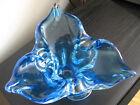 Vintage Chalet Blue Art Glass Sculpture Bowl Dish