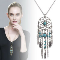Retro Dream Catcher Turquoise Feather Pendant Jewelry Long Chain Necklace