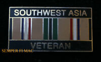 SOUTHWEST ASIA VET HAT PIN US MARINES NAVY ARMY AIR FORCE USCG VETERAN