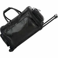 "Leather 21"" Folding Trolley Duffle Bag, Rolling Carry On Luggage Tote Suitcase"