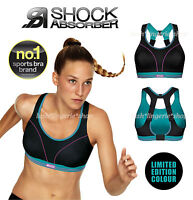 Shock Absorber Ultimate Running Sports Bra Black / Blue New Sizes 32 - 38 A - F