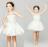 Princess Girls Kids White Crochet Lace Floral Bow Wedding Party Gown Dress 2-7Y