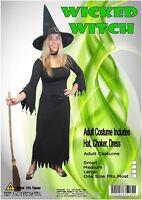 Ladies Costume Fancy Dress Up HT Halloween Wicked Witch Black Sz 8,10,12,14