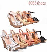 Women's Fashion Buckle Open Toe T- Strap Wedge Platform Sandal Shoes Size 5 -10