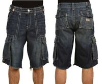 NEW TRUE RELIGION BRAND JEANS MENS ISAAC BIG T STITCH CARGO SHORTS LAW DOG BLUE