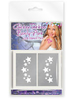 Pack Of 24 x Girls Mini Glitter Tattoo/Body Art Mixed Stencils