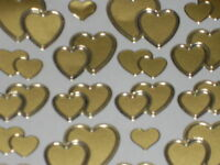 Wedding Peel off Stickers -2 Sheets Mixed Hearts GOLD