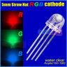 100PCS x 4 Pin 5mm Straw Hat Common cathode RGB Led Red Green Blue Led 160-180