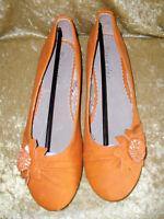 Damen Ballerina Orangetöne Neu Gr 39,5 bequem schick UK 6 orange mit Applikation