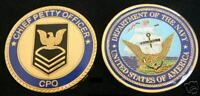 US NAVY CHIEF PETTY OFFICER E-7 COLLECTOR CHALLENGE COIN CPO PIN UP USN USS WOW