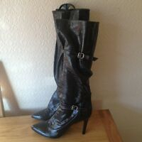 SIGERSON MORRISON BLACK PATENT LEATHER STILETTO BOOTS UK 7 EURO 40 USA 9 BNWT