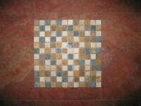 Mosaik Naturstein Travertin/Marmor Grün Mix 2,3 x 2,3 x 1 cm antik - getrommelt