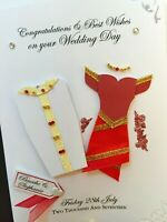 Personalised Handmade 'Indian Wedding' Card