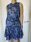 PUR VINTAGE 60 TRES BELLE ROBE SOIE BLEUE TAILLE BASSE 38/VTG SILK BLUE DRESS