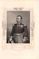 Antique Victorian Engraving Crimean War Vintage c1860: General Bosquet