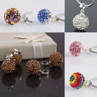 925 Sterling Silver Austrian Crystal Gems Disco 10x10mm Ball Pendant Bead Charms