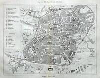 NURNBERG, NUREMBURG, GERMANY,  STREET PLAN original antique map 1872