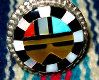 Zuni Mosaic Inlay Kachina Ring Turquoise, Yellow Lip Shell, Coral Size 6-3/4