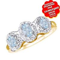 Aquamarine Three Stone Band Ring 10K White Gold