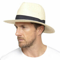 MENS LADIES WOMENS STRAW STYLE FEDORA TRILBY STYLE CRUSHABLE SUMMER SUN HAT