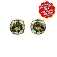 1.00 Ct Brown Moissanite Sterling Silver Push Back 4 Prong Stud Earrings