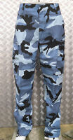 """Midnight Blue Camo Military Style Combat Cargo Trousers - 24""""-28"""" - NEW"""