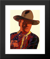 Cowboys & Indians: John Wayne 16x16 Black Wood Framed Art Print by Andy Warhol