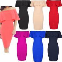 Womens Ladies Bardot Off Shoulder Ruffle Frill Peplum Bandage Bodycon Midi Dress