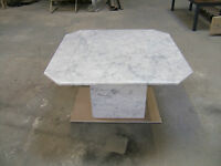 marble coffee tables in solid polished white Carrara marble  80x80cm