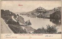 1905 viaggiata po, ponte ferro e...TORINO  ANTICA CARTOLINA POSTALE Ed. Modiano