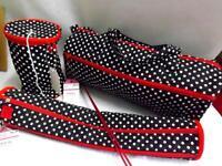 Knitting Tote Storage Bag Black/White Polka Dot Red Trim Birch Choose your Kit