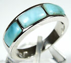 AAA Genuine Larimar Inlay 925 Sterling Silver Men's Women Band Ring Size 6,7,8,9