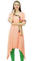 94114490fb7435 phagun angrakha Stil Rayon Frauen lange Tunika Kurta Bommel kurti Top  Kleidung