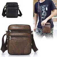 Men's Leather Crossbody Messenger Small Handbag Shoulder Bags Satchel Tablet Bag