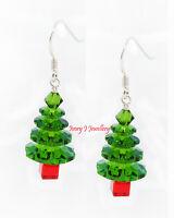 CRYSTAL Christmas Tree Earrings SWAROVSKI ELEMENTS Fern Green Red 925 S Silver